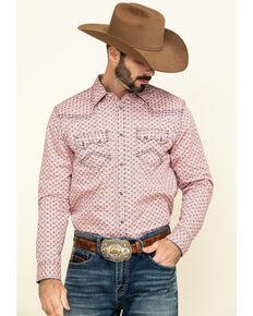 Cody James Men's Basket Case Geo Print Long Sleeve Western Shirt , Coral, hi-res