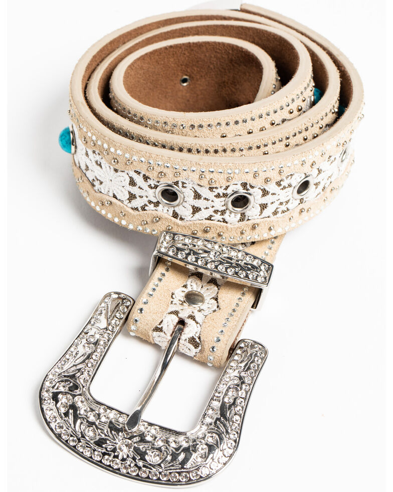Shyanne Women's White Lace Stone Belt, Taupe, hi-res