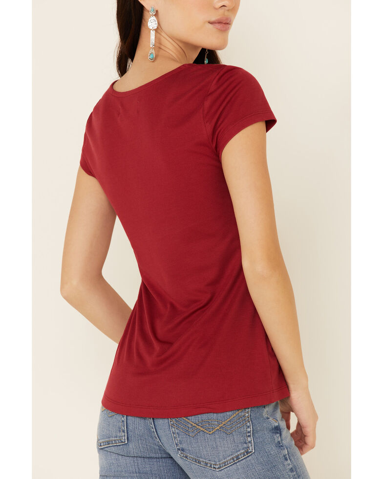 Idyllwind Women's Cherry Tie-Front Top , Red, hi-res