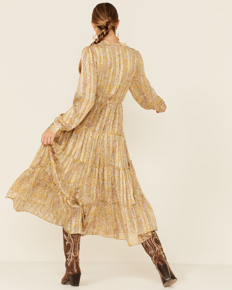 Elan Women's Paisley Tiered Maxi Dress , Gold, hi-res