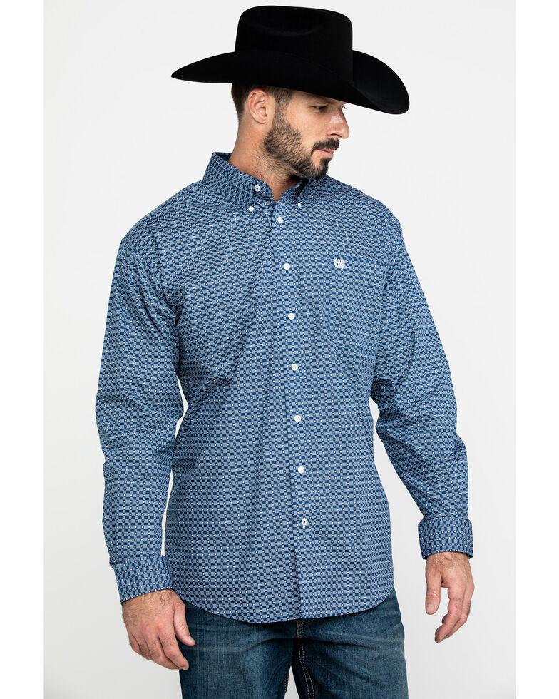 Cinch Men's Mini Square Geo Print Long Sleeve Western Shirt , Blue, hi-res