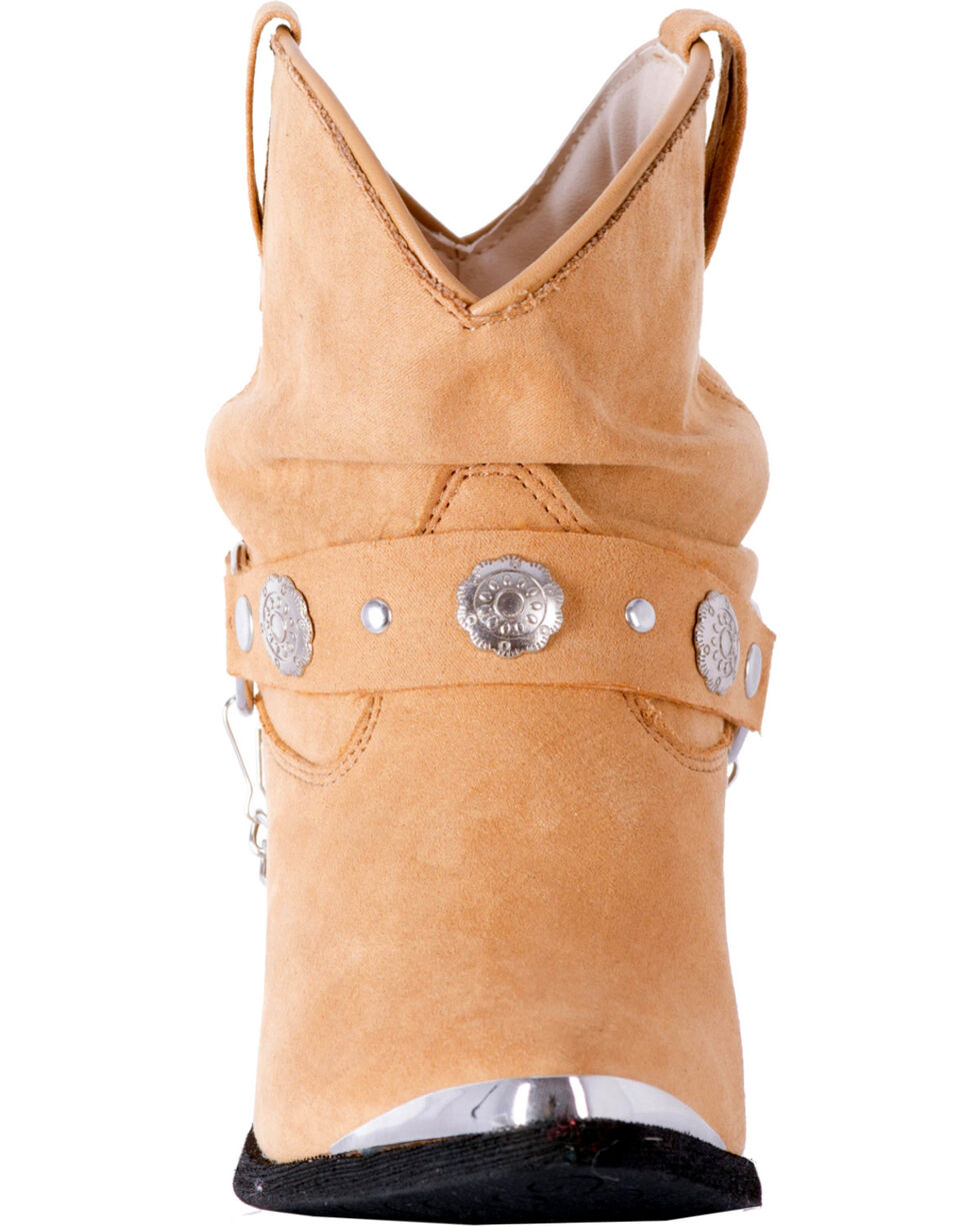 Dingo Women's Tan Leather Concho Strap Slouch Booties - Pointed Toe, Tan, hi-res