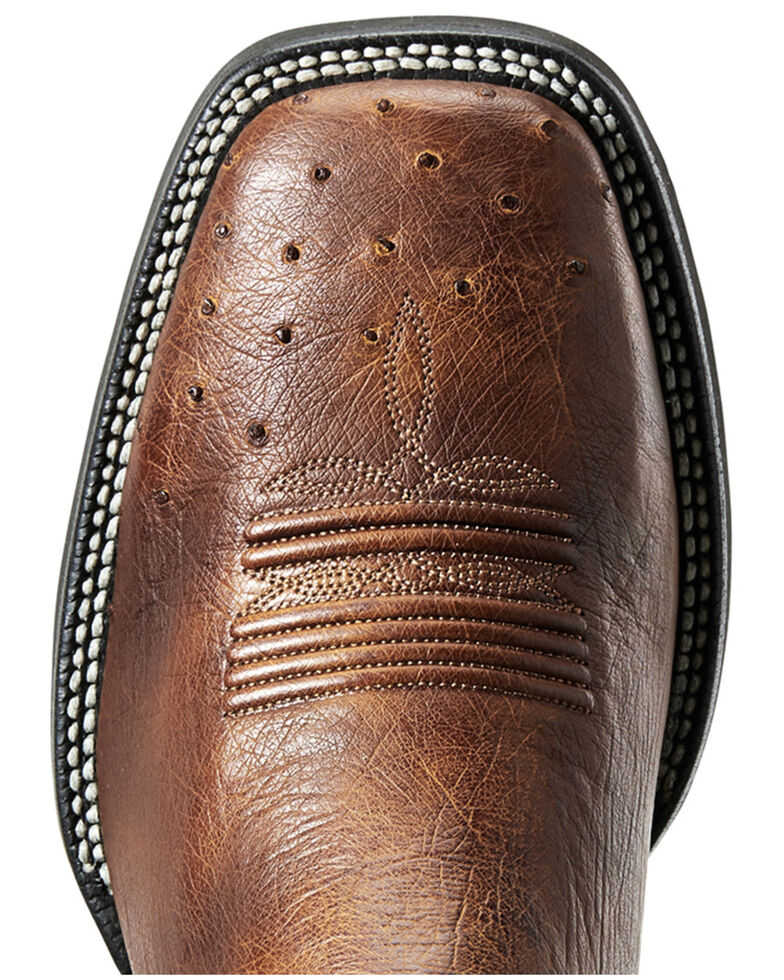 Ariat Men's Promoter Carmelo Smooth Ostrich Western Boots - Wide Square Toe, Brown, hi-res