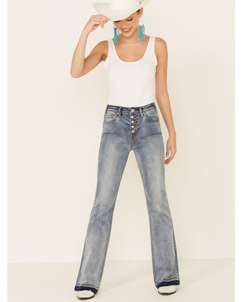 Rock & Roll Denim Women's Button Front Trouser Jeans, Blue, hi-res