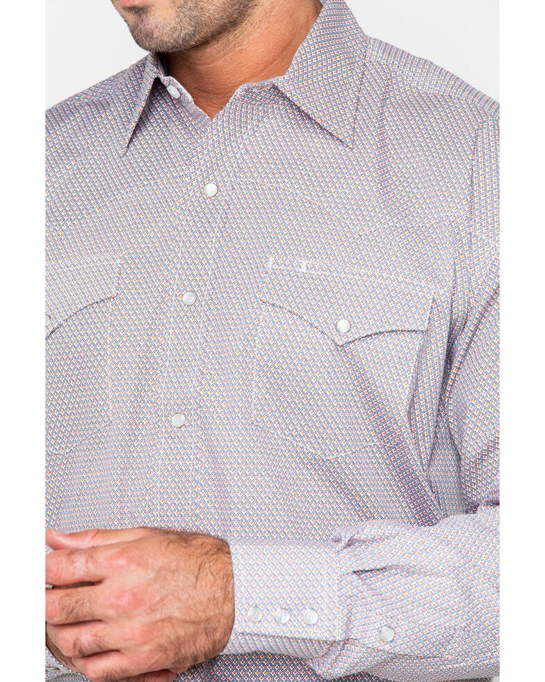 Stetson Men's Small Plaid Long Sleeve Western Shirt, Orange, hi-res