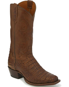 Tony Lama Men's Tobacco Hornback Caiman Cowboy Boots - Square Toe, Dark Brown, hi-res