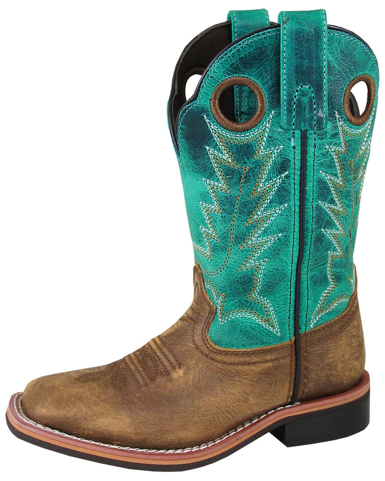 Smoky Mountain Boys' Jesse Western Boots - Square Toe, Brown/blue, hi-res
