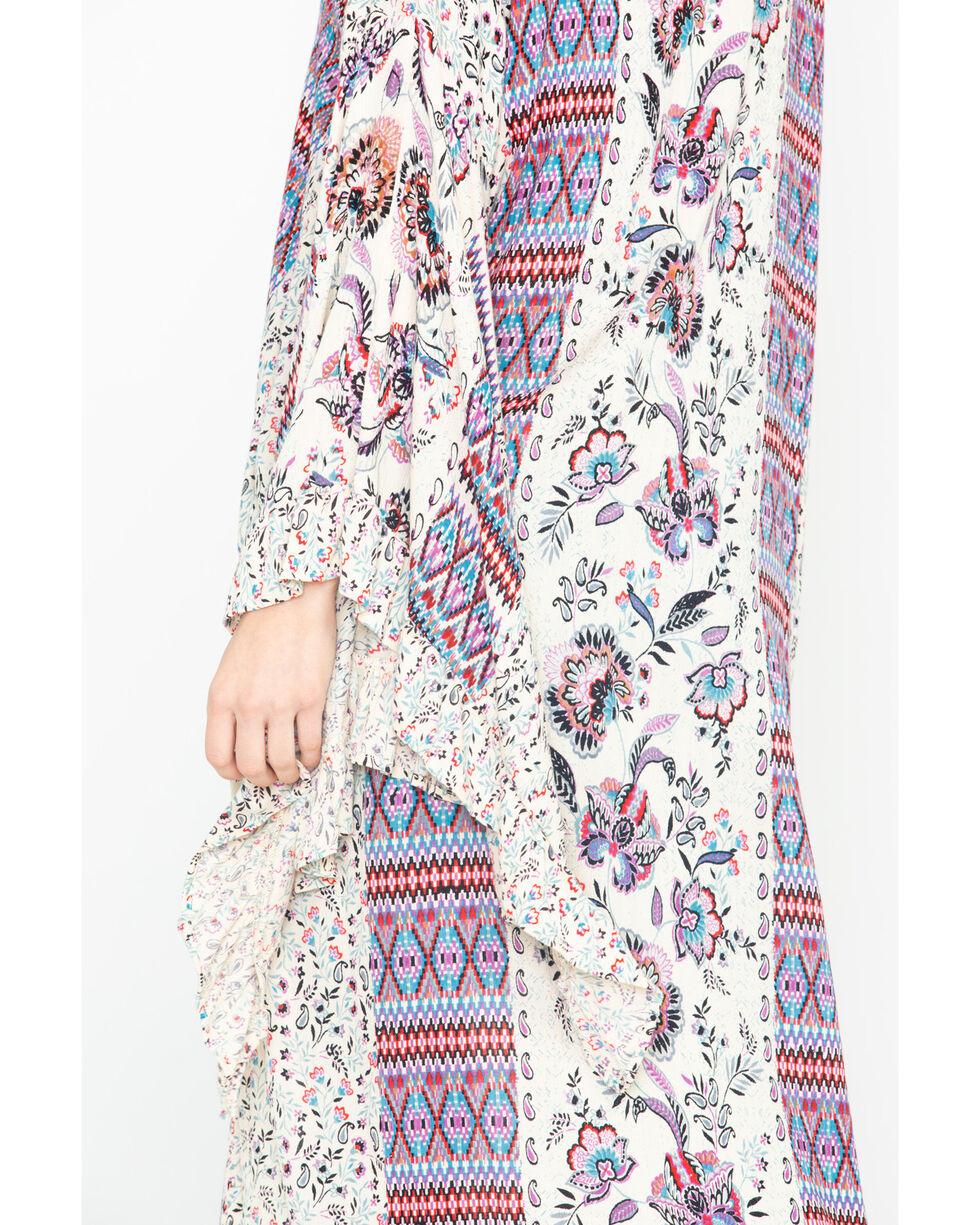 Nostalgia Women's Floral Aztec Print Ruffle Kimono , Ivory, hi-res