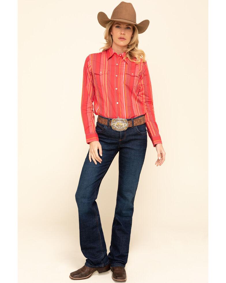 Wrangler Women's Rose Tonal Serape Long Sleeve Western Shirt, Pink, hi-res