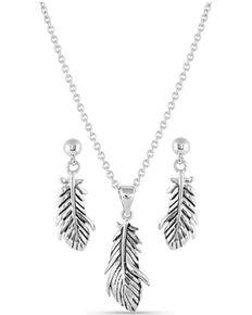 Montana Silversmiths Women's Rebirth Silver Feather Jewelry Set, Silver, hi-res