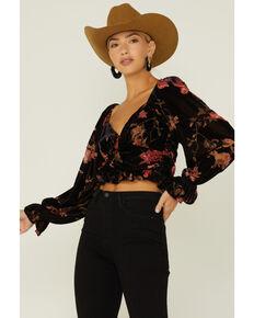 By Together Women's Burnout Velour Crop Top, Black, hi-res