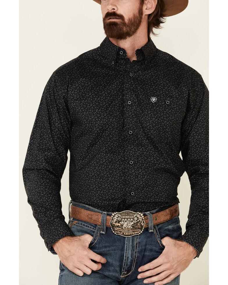 Ariat Men's Black Gallant Stretch Print Long Sleeve Western Shirt , Black, hi-res