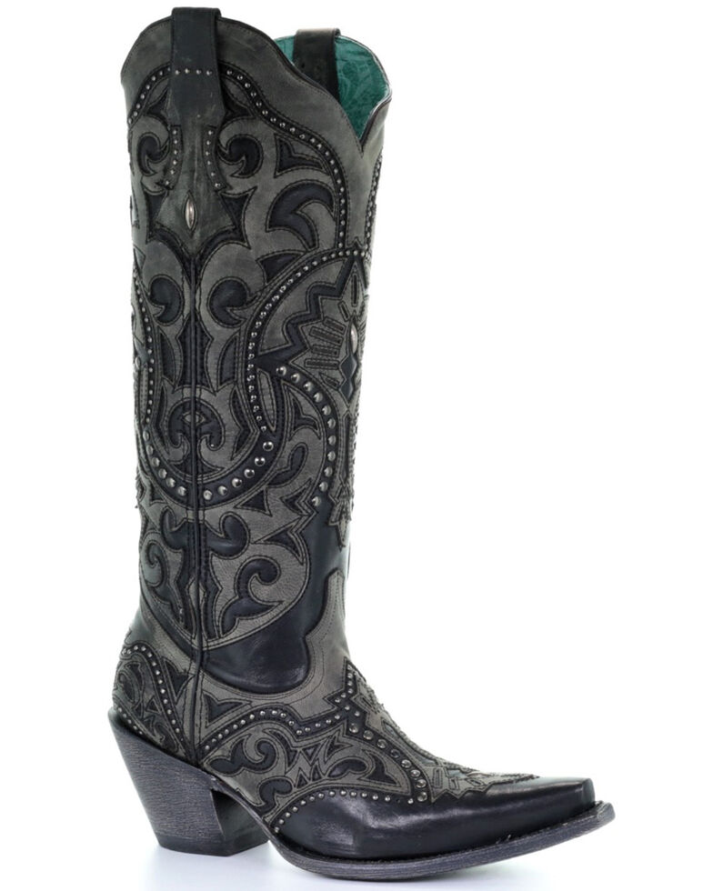 Corral Women's Black & Grey Laser Embroidered Leather Western Boots - Snip Toe, Black, hi-res