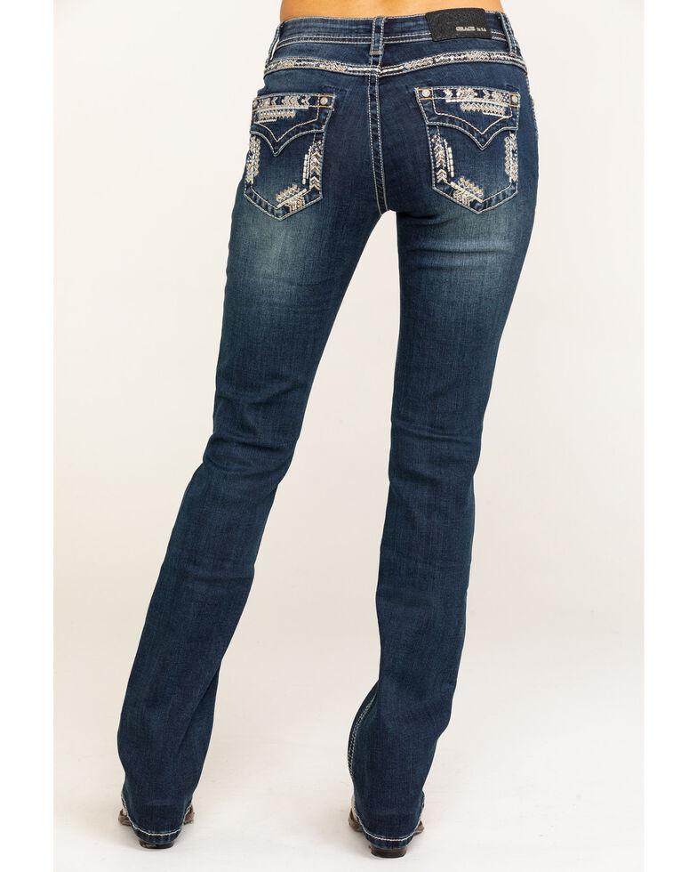 "Grace in LA Women's Dark Vintage Arrow Border Faux Flap 32"" Jeans, Blue, hi-res"