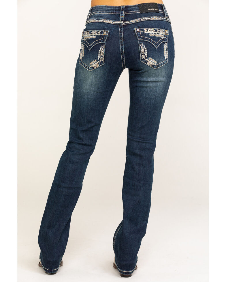 Grace in LA Women's Dark Vintage Arrow Border Faux Flap Jeans, Blue, hi-res
