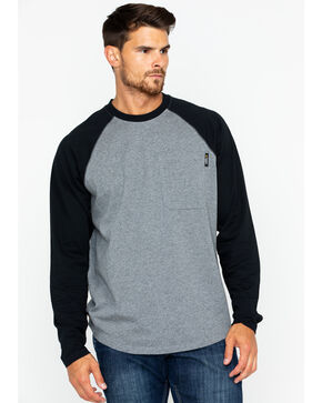 Hawx® Men's Solid Long Sleeve Baseball Raglan Crew Work Shirt , Heather Grey, hi-res