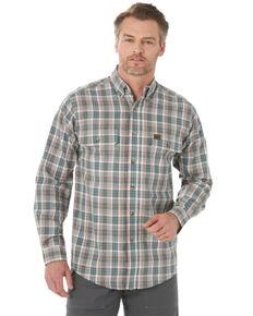 Wrangler Riggs Men's Olive Foreman Plaid Long Sleeve Button-Down Work Shirt - Big, Olive, hi-res
