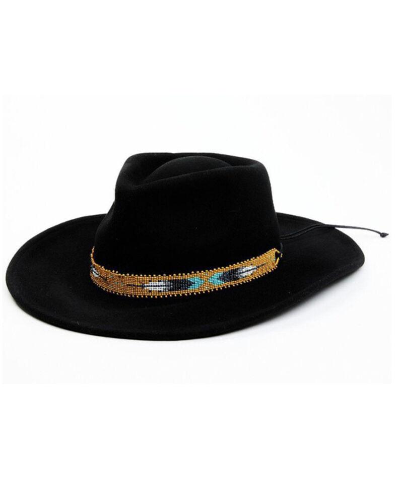 Nikki Beach Women's Black Two Feathers Western Felt Rancher Hat , Black, hi-res