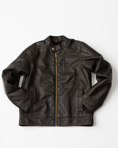 Cody James Boys' Badlands Zip-Up Moto Jacket , Brown, hi-res