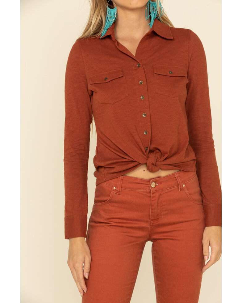 Shyanne Women's Solid Knit Button Front Long Sleeve Western Shirt , Rust Copper, hi-res