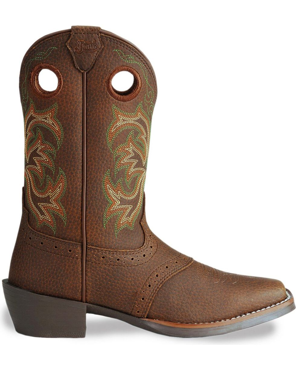 Justin Children's Junior Stampede Cowboy Boots - Square Toe, Dark Brown, hi-res