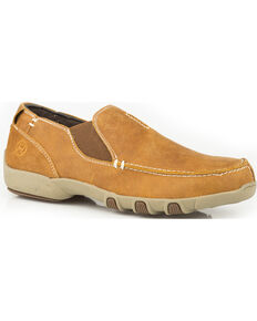 Roper Men's Buzzy Vintage Tan Leather Driving Mocs - Moc Toe, Tan, hi-res