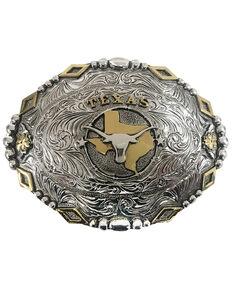 Cody James Men's Texas Longhorn Regional Buckle, Silver, hi-res