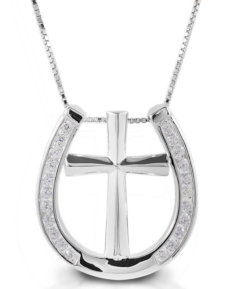 Kelly Herd Women's Clear Horseshoe Cross Necklace , Silver, hi-res