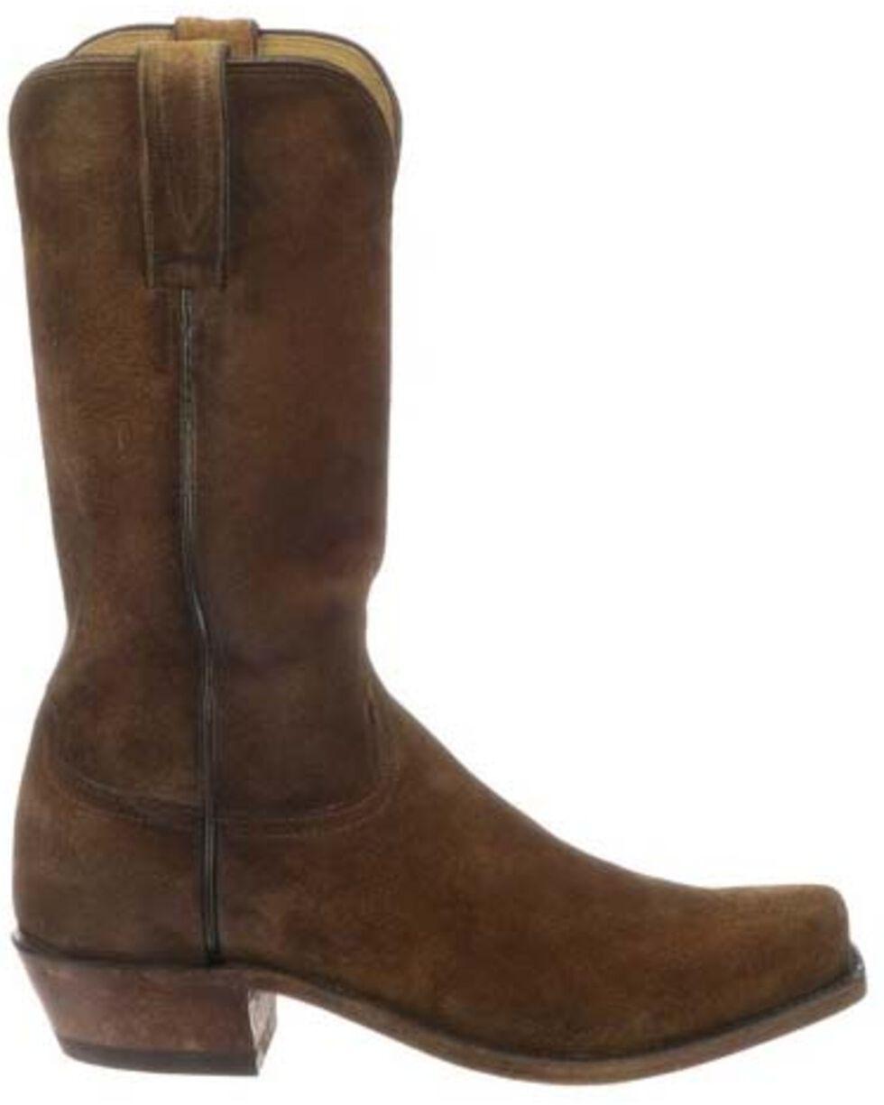 Lucchese Men's Livingston Cognac Suede Western Boots - Narrow Square Toe, Cognac, hi-res