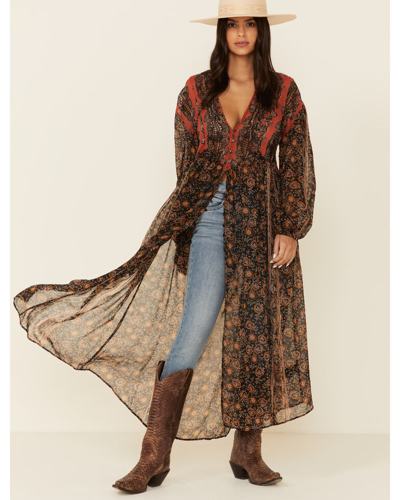 Free People Women's Free Flowing Duster, Multi, hi-res