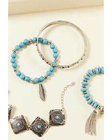 Shyanne Women's Summer Nights Blue Stretch Bangle Set, Silver, hi-res