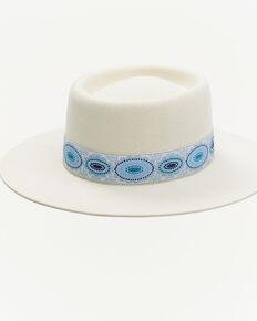 Lack Of Color Women's Cream Azure Lolita Wool Felt Western Boater Hat , Cream, hi-res