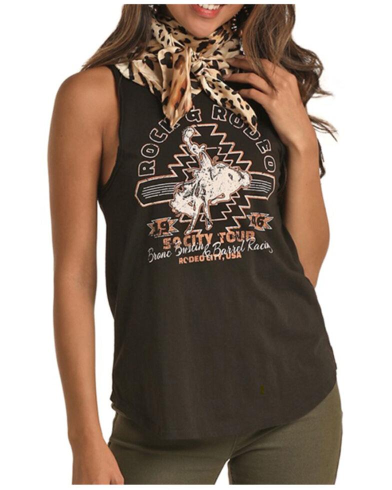 Rock & Roll Denim Women's Rock & Rodeo Graphic Tank Top , Black, hi-res