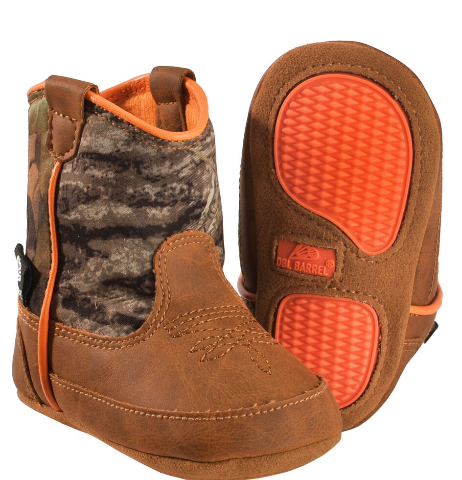 Double Barrel Infant Boys' Gunner Mossy Oak Cowboy Booties - Round Toe, Brown, hi-res