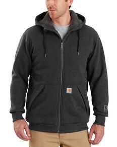 Carhartt Men's Rain Defender Rockland Sherpa-Lined Full-Zip Hooded Jacket , Charcoal, hi-res