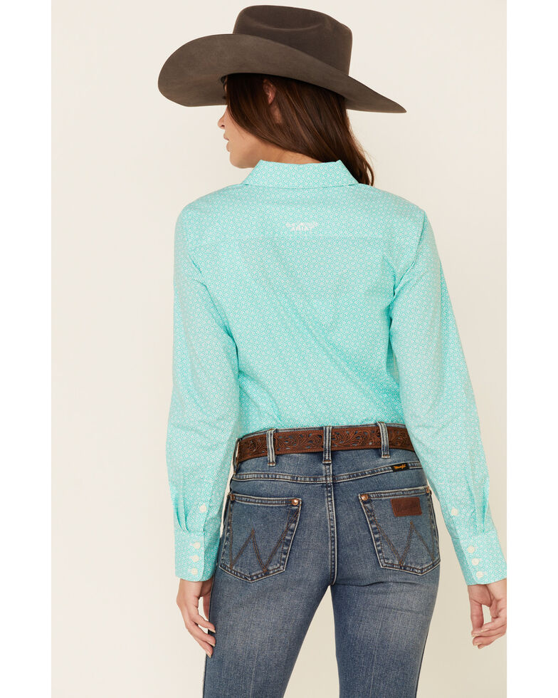 Ariat Women's Turquoise Geo Print Kirby Stretch Long Sleeve Western Core Shirt , Turquoise, hi-res