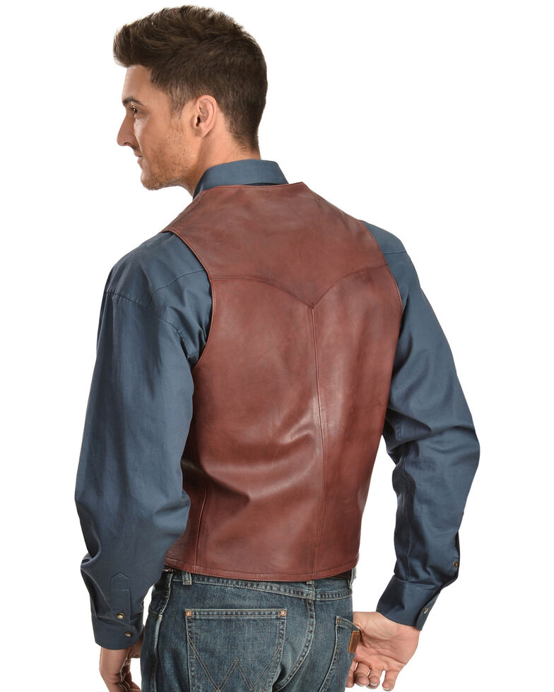 Scully Lamb Leather Vest, Black Cherry, hi-res