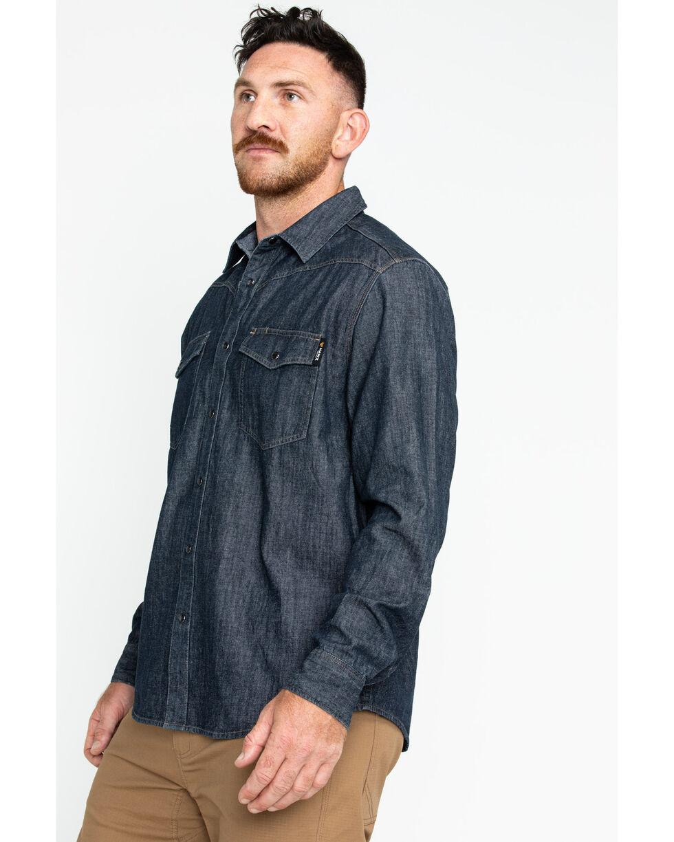 Hawx® Men's Denim Snap Western Work Shirt, Indigo, hi-res