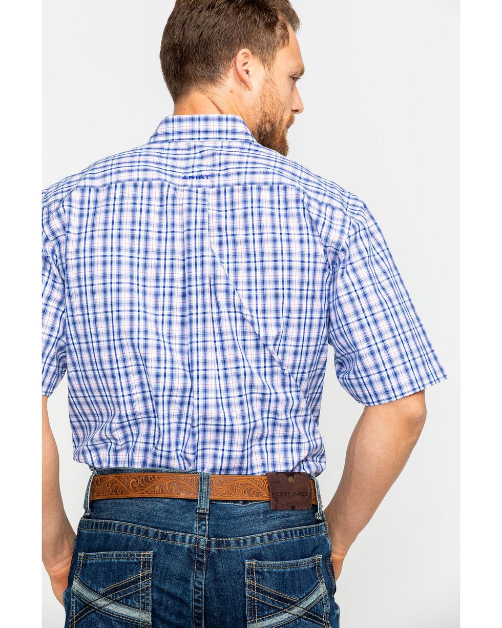 Ariat Men's Gaffery Plaid Short Sleeve Western Shirt , White, hi-res