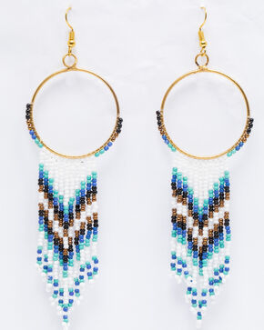 Shyanne Women's Chloe Multi-Beaded Chevron Hoop Earrings, Multi, hi-res