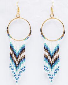 Shyanne Women's Chloe Multi-Beaded Chevron Hoop Earrings, Multi, hi-res