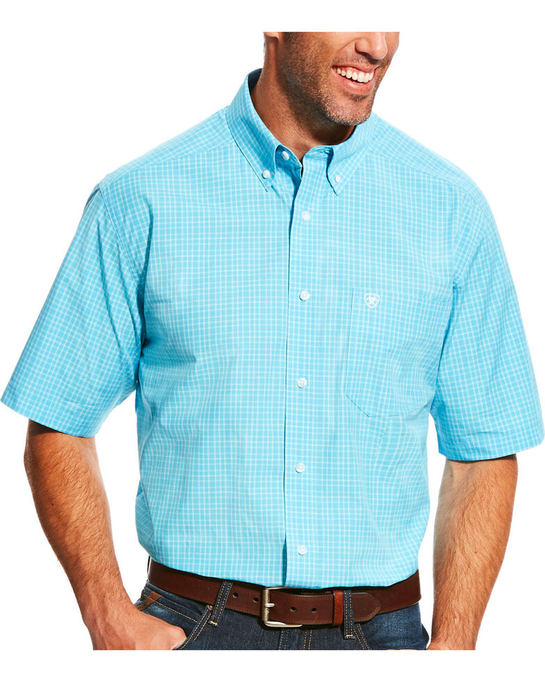 Ariat Men's Pro Series Leroy Blue Atoll Plaid Short Sleeve Shirt, Blue, hi-res