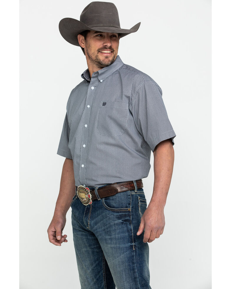 Cinch Men's Grey Geo Print Short Sleeve Western Shirt , Grey, hi-res
