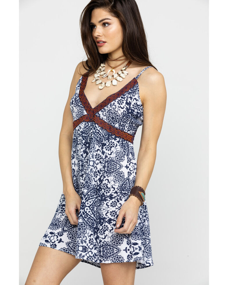 Shyanne Women's Blue Print Filigree Dress, Blue, hi-res