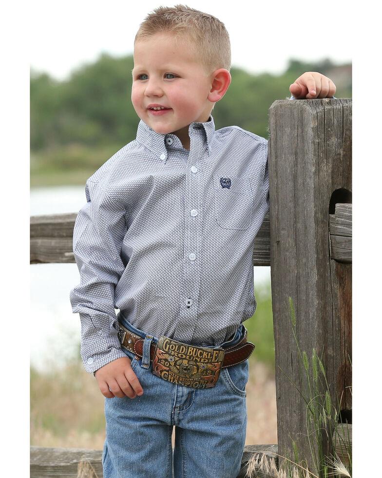 Cinch Infant Boys' Navy Geo Print Long Sleeve Western Shirt , Navy, hi-res