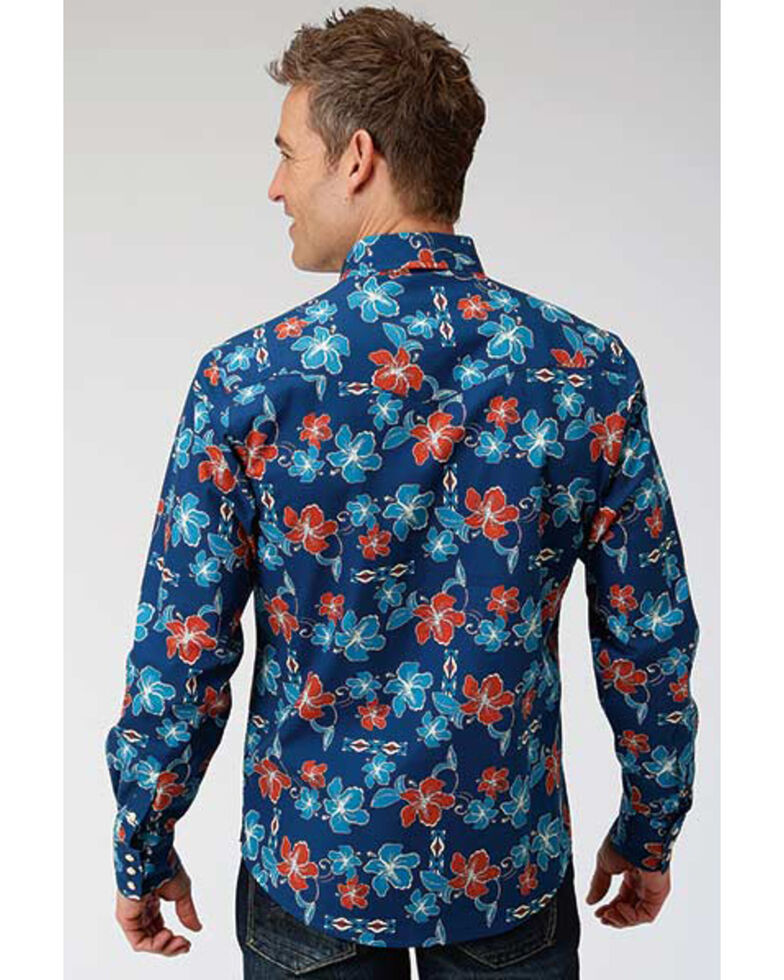 Roper Men's West Made New Tropical Print Long Sleeve Western Shirt , Blue, hi-res