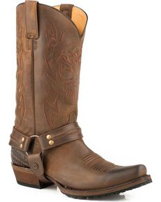 Roper Men's Skull Brown Oily Leather Harness Boots - Bandit Toe, Brown, hi-res