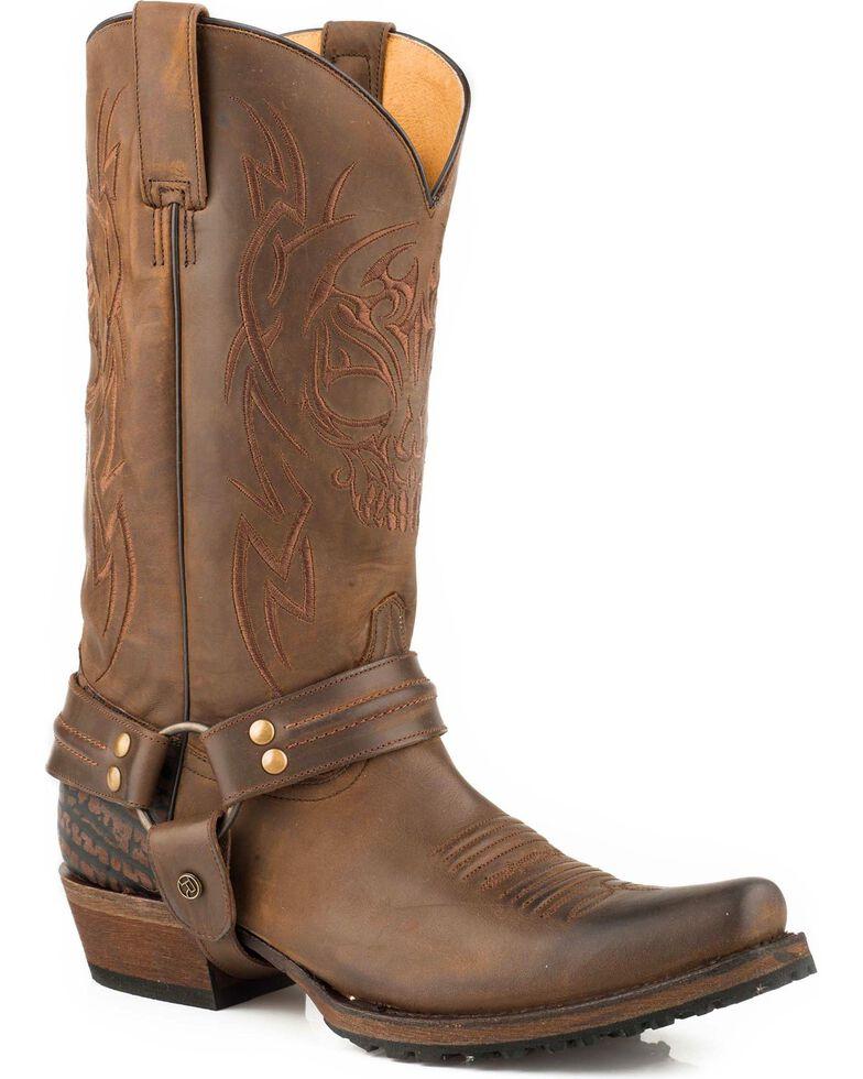 Roper Men's Skull Brown Oily Leather Harness Boots - Bandit Toe, Brown, hi-res