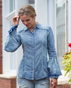 Ryan Michael Women's Floral Indigo Tiered Sleeve Top, Indigo, hi-res