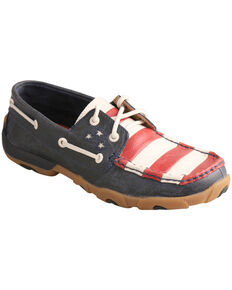 Twisted X Women's VFW American Flag Driving Mocs, Blue, hi-res